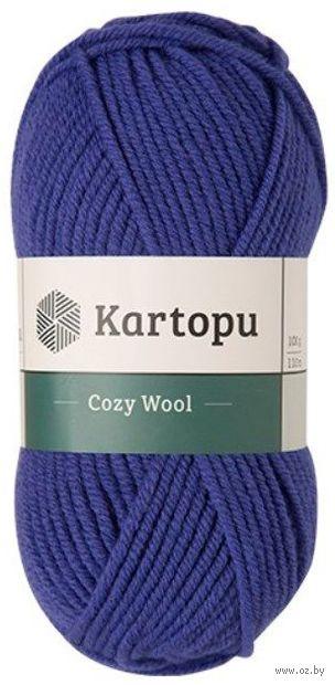 """Пряжа """"KARTOPU. Cozy Wool №K1624"""" (100 г; 110 м; синий) — фото, картинка"""