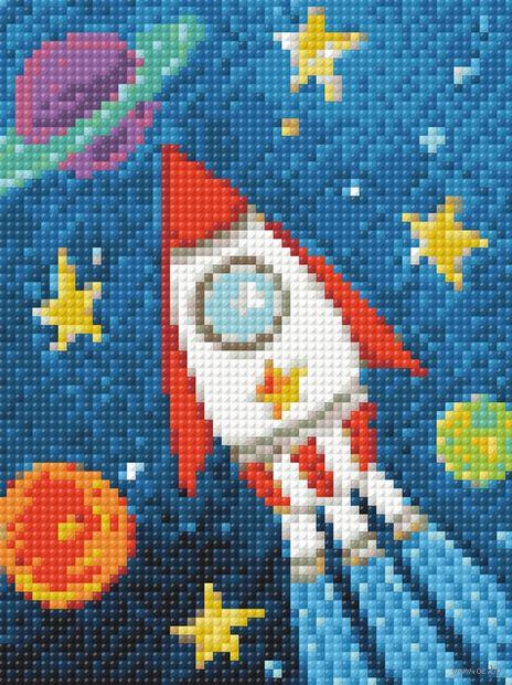 """Алмазная вышивка-мозаика """"Космический корабль"""" (150х200 мм) — фото, картинка"""