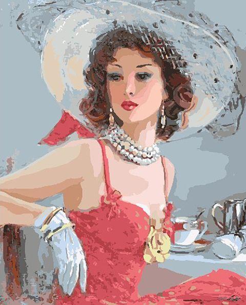 "Картина по номерам ""Дама в шляпе"" (400х500 мм) — фото, картинка"