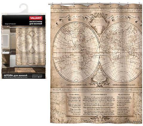 """Шторка для ванной """"History Map"""" (145х180 см) — фото, картинка"""