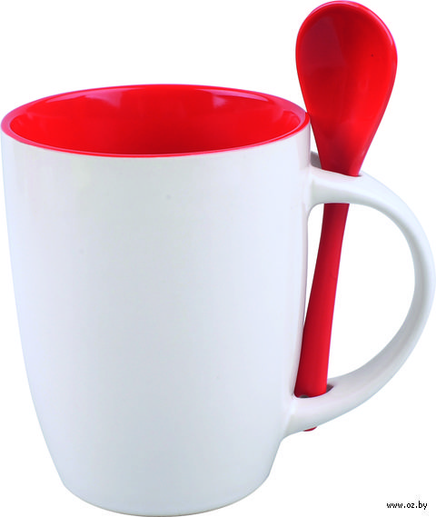 Кружка керамическая с ложкой (320 мл; белый/красный)