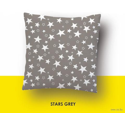 """Наволочка хлопковая """"Stars Grey"""" (70x70 см) — фото, картинка"""