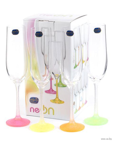 """Бокал для шампанского стеклянный """"Neon Frozen"""" (4 шт.; 190 мл) — фото, картинка"""