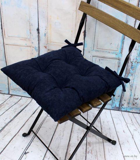 "Подушка на стул ""Velours"" (42х42 см; темно-синяя) — фото, картинка"