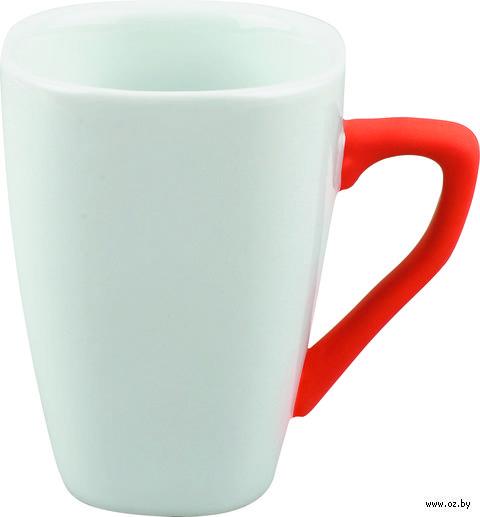 Кружка с силиконовым покрытием на ручке (250 мл, цвет: белый, красный)