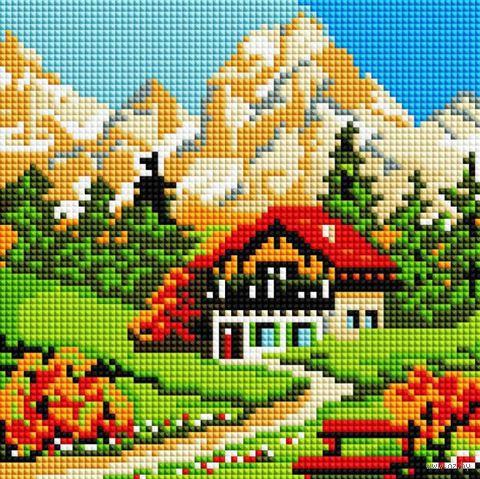 """Алмазная вышивка-мозаика """"Домик у горы"""" (200х200 мм) — фото, картинка"""