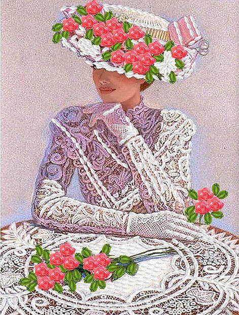 "Вышивка лентами ""Дама в шляпе"" (250х190 мм) — фото, картинка"