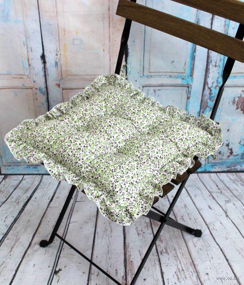"Подушка на стул ""Ажур"" (35х35 см; молочно-зелёный) — фото, картинка"