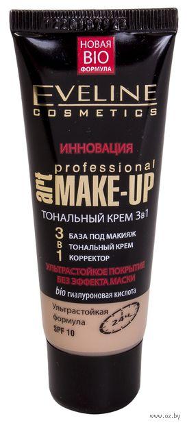 """Тональный крем для лица 3в1 """"Art Professional Make-Up"""" (тон: светлый бежевый) — фото, картинка"""