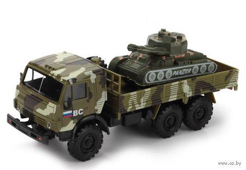 "Модель машины ""Камаз военный"" (масштаб: 1/43; с танком)"