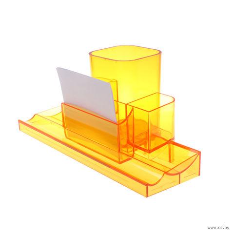 """Органайзер для рабочего стола """"Башня"""" (прозрачно-оранжевый)"""