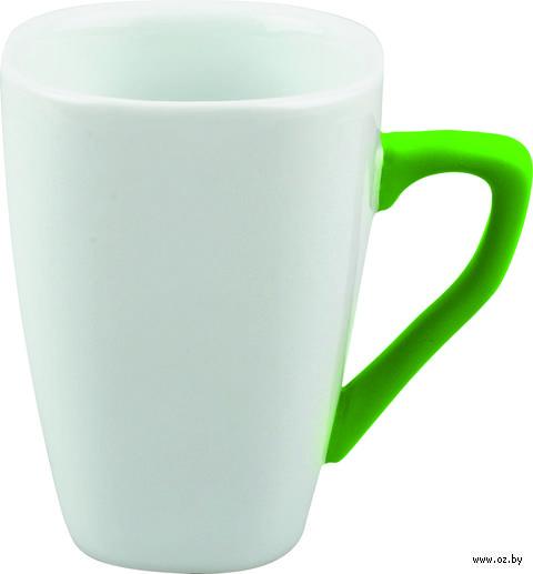 Кружка фарфоровая с силиконовым покрытием на ручке (250 мл; белый/зеленый)