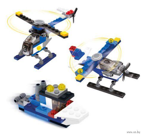 """Конструктор """"SuperBlock. Три в одном. Самолет, вертолет, катер"""" (52 элемента)"""