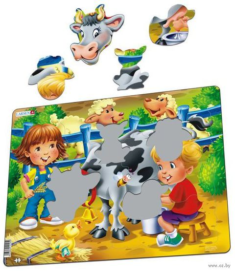 "Пазл-рамка ""Дети на ферме. Корова"" (18 элементов) — фото, картинка"