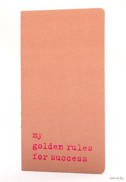 "Записная книжка в точку ""Chapter. My Golden Rules for Success"" (95х180 мм; розовая) — фото, картинка"