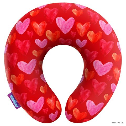 "Подушка под шею ""Сердечки"" (34х34 см; красная) — фото, картинка"