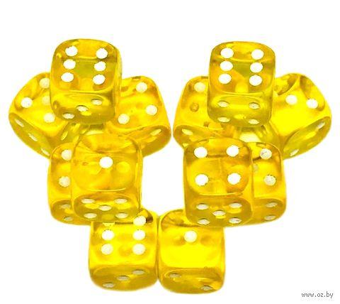"""Набор кубиков D6 """"Прозрачный"""" (12 мм; 12 шт.; жёлтый) — фото, картинка"""