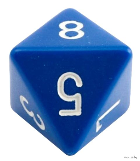"""Кубик D8 """"Простой"""" (16 мм; синий) — фото, картинка"""
