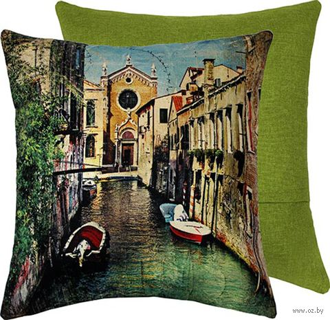 "Подушка ""Венеция"" (38x38 см; зелёная) — фото, картинка"