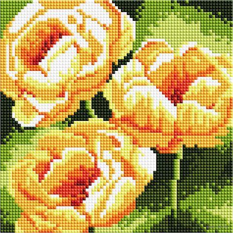 "Алмазная вышивка-мозаика ""Жёлтые цветы"" (200х200 мм) — фото, картинка"