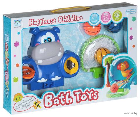 """Набор игрушек для купания на присоске """"Водный баскетбол с бегемотом"""""""