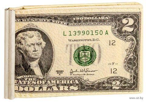 "Зажим для денег с монетницей ""Два бакса"" — фото, картинка"