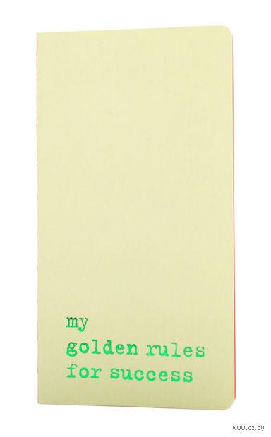 "Записная книжка в точку ""Chapter. My Golden Rules for Success"" (95х180 мм; светло-зеленая) — фото, картинка"