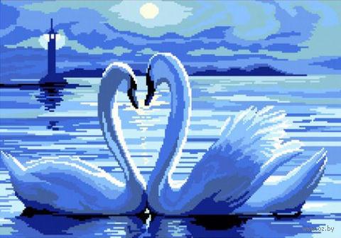 "Вышивка крестом ""Лебеди под луной"" (330x450 мм) — фото, картинка"
