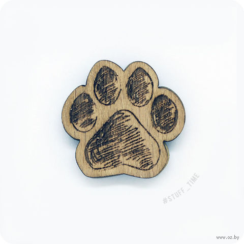 """Значок деревянный """"Лапа"""" (арт. 0036) — фото, картинка"""