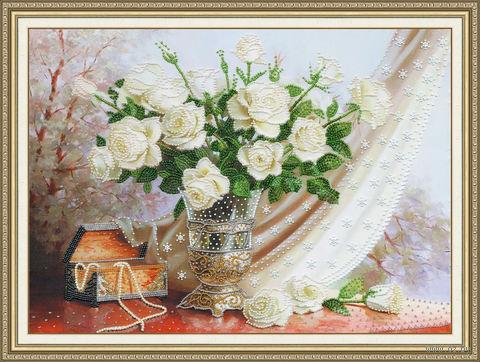 "Вышивка бисером ""Белые розы"" (360х500 мм) — фото, картинка"