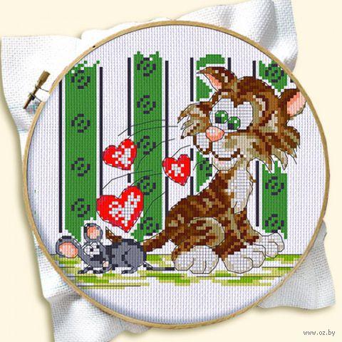 """Вышивка крестом """"Кот и мышка"""" (120x160 мм) — фото, картинка"""