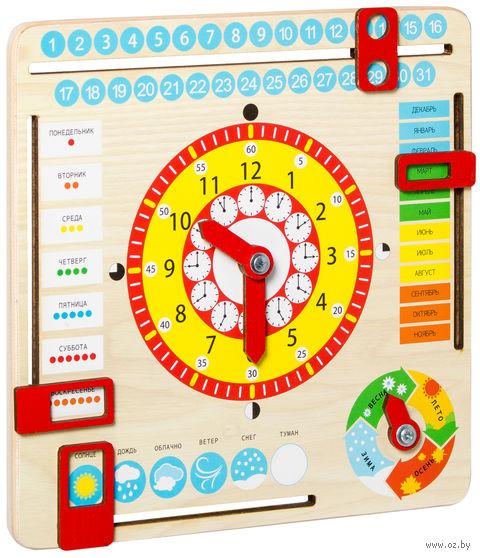 """Деревянная игрушка """"Часы и календарь"""" (арт. KD2) — фото, картинка"""