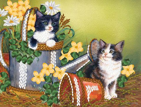 """Вышивка лентами """"Котятки"""" (250х190 мм) — фото, картинка"""