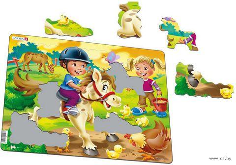 "Пазл-рамка ""Дети на ферме. Пони"" (16 элементов) — фото, картинка"