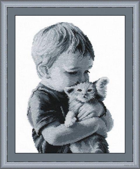 """Вышивка крестом """"Малыш с котенком"""" (200x280 мм) — фото, картинка"""