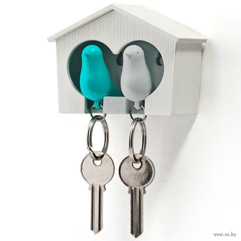 """Брелок-свисток и держатель двойной для ключей """"Sparrow"""" (белый/голубой)"""