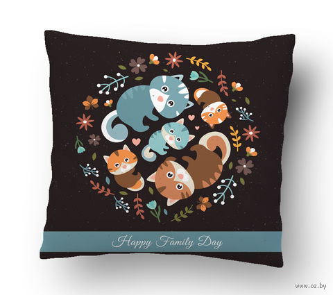 "Подушка маленькая ""Family Day"" (арт. 25; 15х15 см) — фото, картинка"