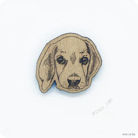 "Значок деревянный ""Бигль"" (арт. 0004) — фото, картинка"