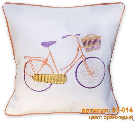 "Подушка ""Велосипед"" (40x40 см; оранжевая) — фото, картинка"