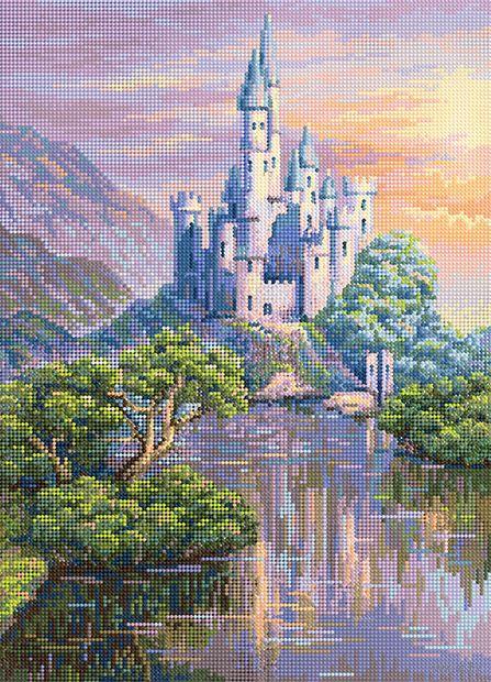 """Алмазная вышивка-мозаика """"Сказочный замок у озера"""" (500х360 мм) — фото, картинка"""