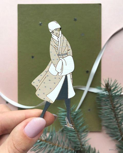 """Брошь """"Девушка на коньках"""" (арт. 211-1) — фото, картинка"""