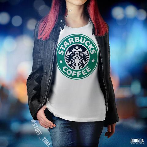 "Футболка женская ""Старбакс кофе"" (M; арт. 504) — фото, картинка"