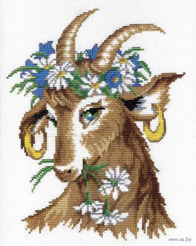 "Вышивка крестом ""Коза-красотка"" (320x220 мм) — фото, картинка"