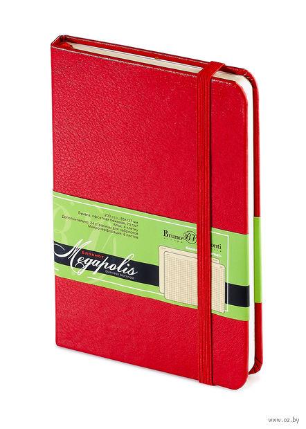 """Блокнот в клетку """"Megapolis Journal"""" (А6; красный) — фото, картинка"""