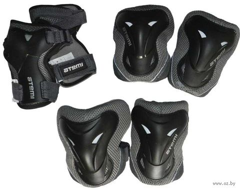 Комплект роликовой защиты ASGK-02 (S; чёрный) — фото, картинка