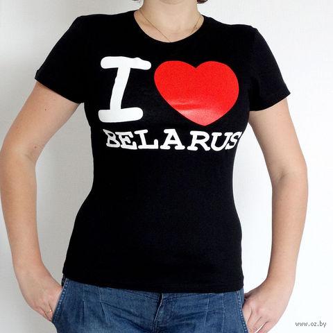 """Футболка женская M """"I LOVE BELARUS"""" (черная)"""