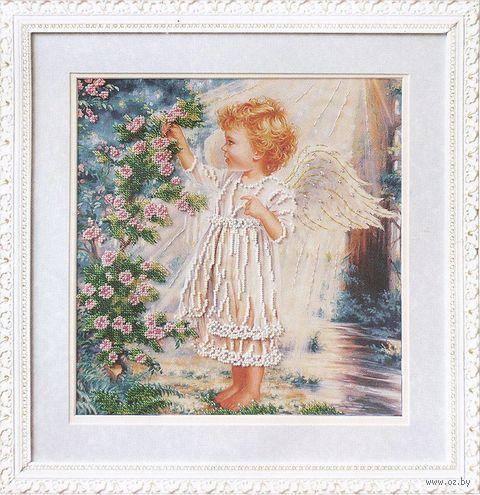 """Вышивка бисером """"Ангелочек и розовый куст"""" (280х290 мм) — фото, картинка"""