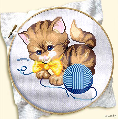 "Вышивка крестом ""Котенок с клубком"" (120x160 мм; арт. ДН-144) — фото, картинка"