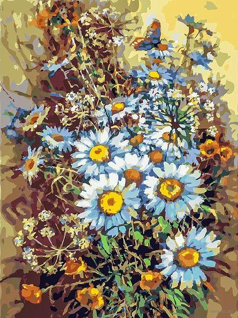 "Картина по номерам ""Букет с ромашками и бабочкой"" (300х400 мм) — фото, картинка"