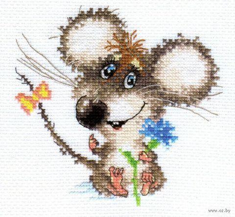 """Вышивка крестом """"Влюбленный мышонок"""" (130х120 мм) — фото, картинка"""
